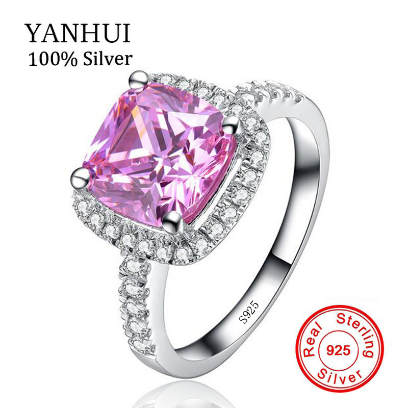 YANHUI Real Original 925 Solid Silver Wedding Rings Set 8mm 2 Carat Pink CZ Zirconia Stone Engagement Rings For Women HFJZ007