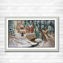 Christmas Snow-covered landscape Printed on canvas DMC 11CT 14CT Cross Stitch kit needlework Sets embroider,Europe snow Scenery
