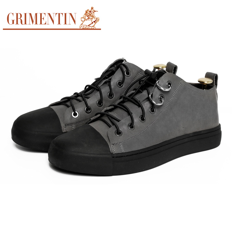 GRIMENTIN men casual shoes genuine leather fashion fashion business formal shoes lace up fashion men s lace up straight legs cropped jeans
