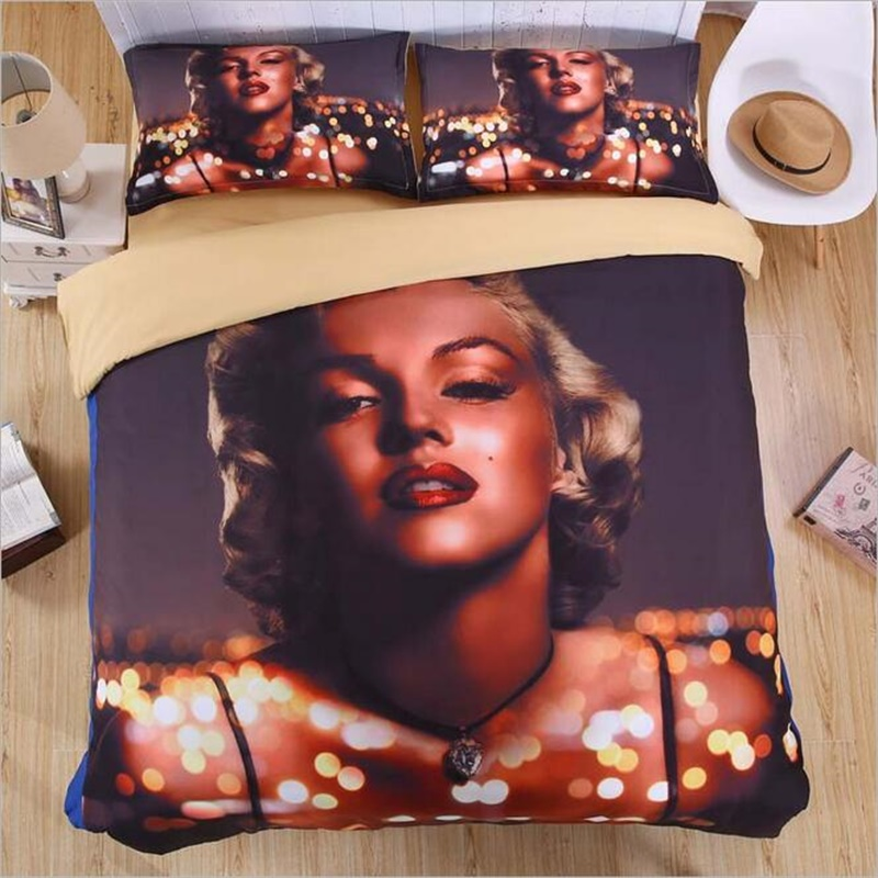 3D Marilyn Monroe Adult Bedding Sets Twin Full Queen King Size Duvet Cover  Bed Linens Sexy Bedroom Set Home Textiles 4pcs