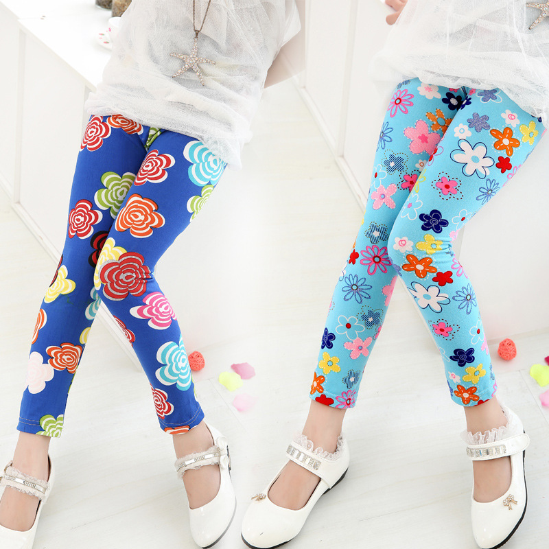 80fa228ff797a 2016 Children's clothing girl pants new arrive printing flower girls  leggings toddler classic legging 2-14Y Baby Kids Leggings