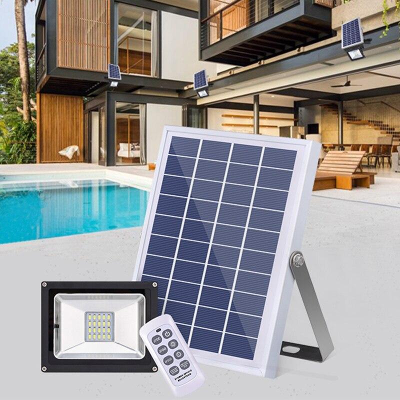 LED Solar Light Solar Flood Light Waterproof IP65 with Remote Control Aluminum Outdoor Garden Garage Led Solar Wall Lamp Decor