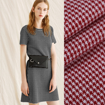 140CM Wide 220G/M British Style Houndstooth Silk Spring and Summer Long and Short Dress Shirt Clothes Jacket Fabric DE694