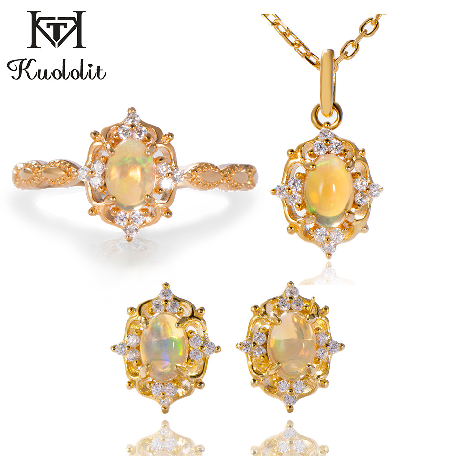 Kuololit Natural Opal Gemstone Stud Earrings For Women 925 Sterling Silver Yellow Gold Pendant Earring Ring