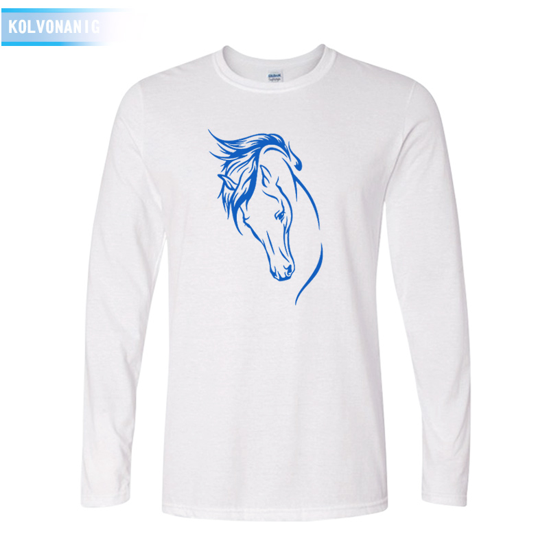 KOLVONANIG Mans Heartbeat Of Horse T Shirts Fall Style Long Sleeve Cotton Cute Riding Horse Mens T-Shirts Male Tee Tops TO-88