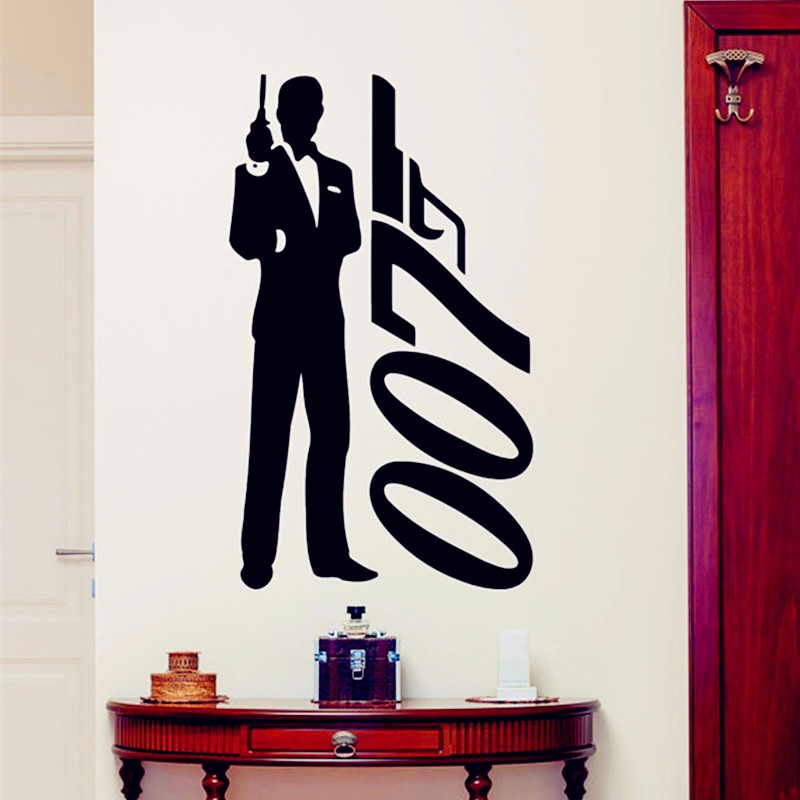 James bond wall sticker 007 movie superhero posters boys for Decor 007