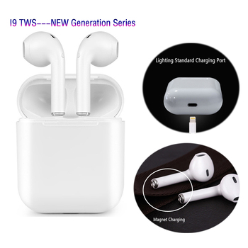 I9 TWS Bluetooth Earphones Magnetic Charger Box Earbuds Mini Wireless In Ear Headsets V4.2 Stereo Headphones For IPhone Android usb