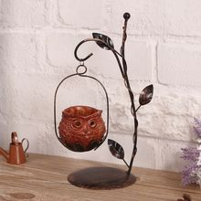 1Set Unique Owl Candlestick Iron Candle Holder Resin Lantern Candleholder for Christmas Gifts Cafe Home Decorative Ornaments retro iron candlestick lantern tea light holder home shop ornaments
