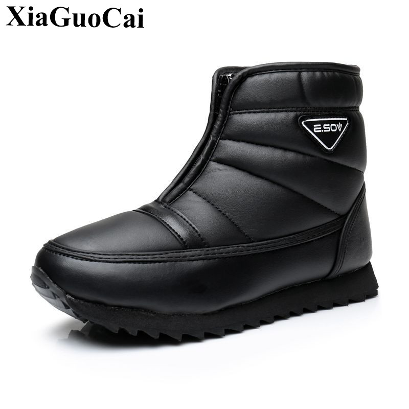 Winter New Snow Boots Women Shoes Warm Fleeces Waterproof Antiskid Outdoor Ankle Boots Couple Shoes Flat Cotton Shoes H518 35