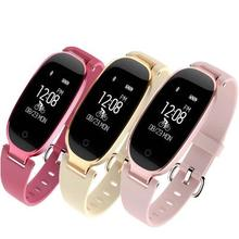 Women Smart band S3 Ladies Bracelet Heart rate Fitness Tracker Pedometer Mp3 Wristband smart watch for ios android