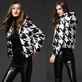 Print White Black Plaid White Duck Down Coat Parkas New Arrivals Slim Winter Down Jacket Women Hooded Fashion Woman Overcoats
