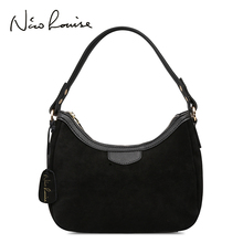 New Women Real Suede Leather Small Shoulder Bag Brand Female Leisure Cossbody Hobo Handbag For Lady Blosa Top-handle Bags