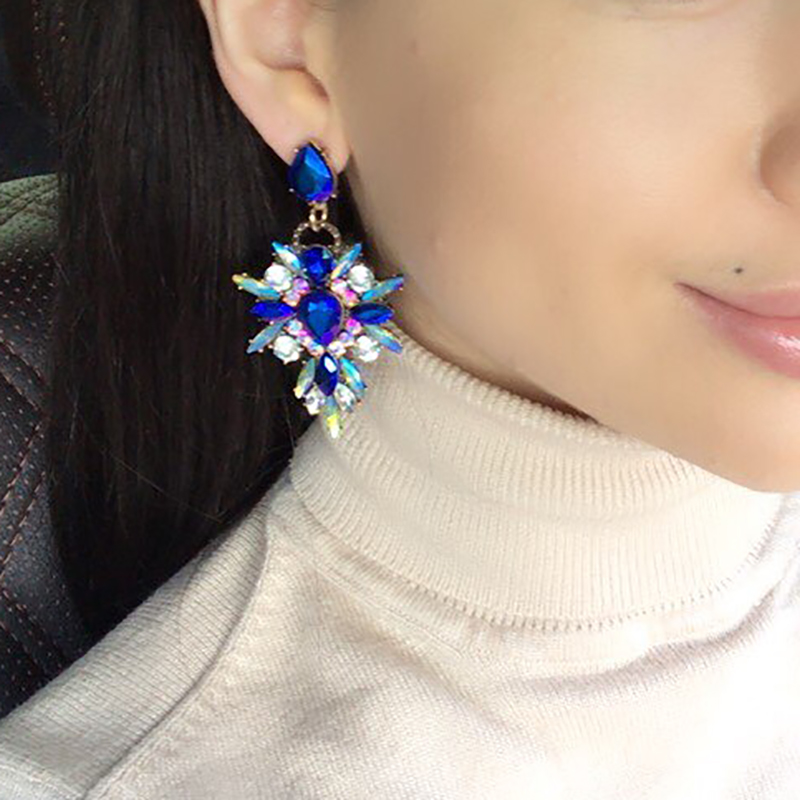 Hot Colorful Flower Big Brand Design Luksus Rhinestone Starburst Anheng Crystal Gem Statement Øredobber Smykker