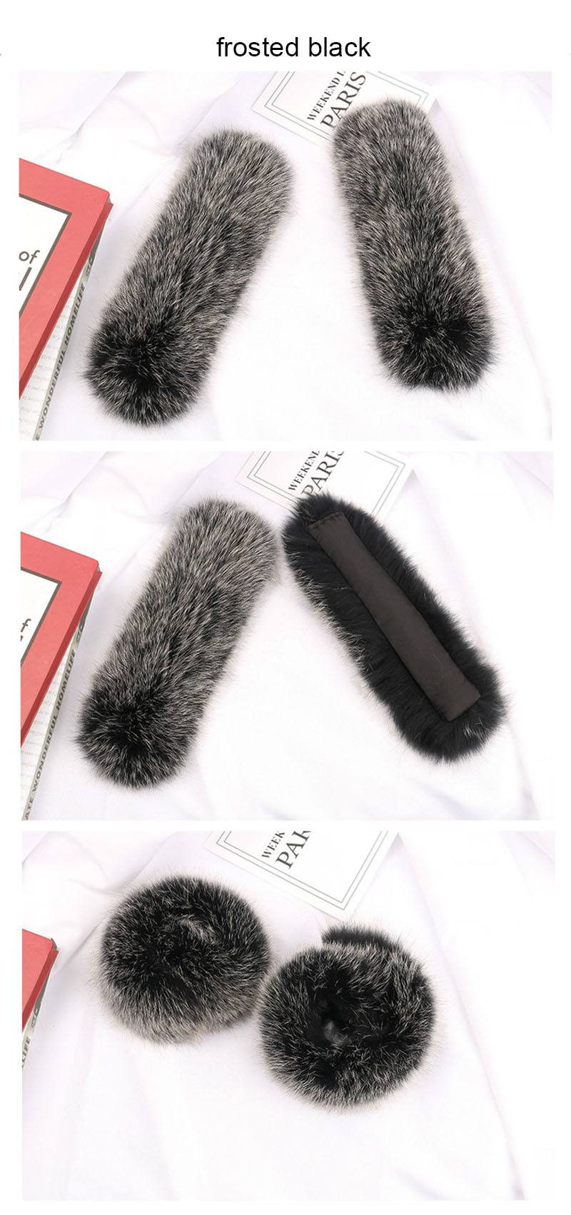 fox fur slap cuffs color frosted black