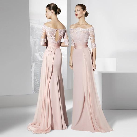 Off the shoulder lace evening dress