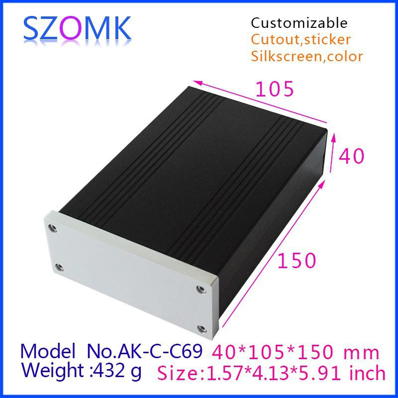 1 pcs, szomk aluminum housing extruded box 40*105*150mm new arrival shenzhen audio amplifier enclosure, junction box 4pcs a lot diy plastic enclosure for electronic handheld led junction box abs housing control box waterproof case 238 134 50mm