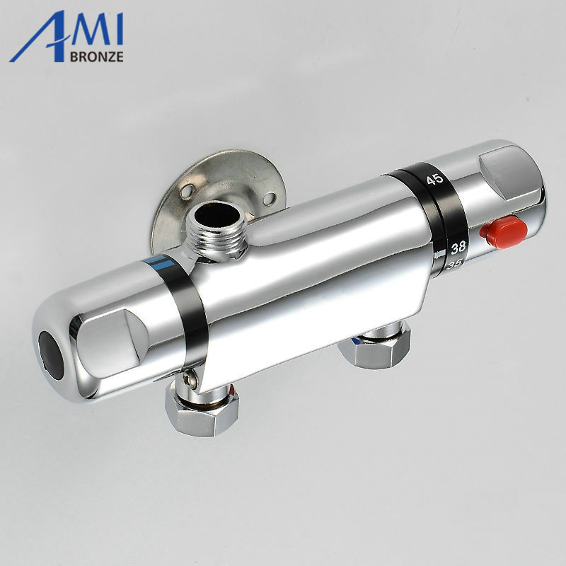 Temperature Control Thermostatic Shower Valve Faucet Mixer Tap Wall Mounted polished chrome wall mount temperature control shower faucet set brass thermostatic mixer valve with handshower