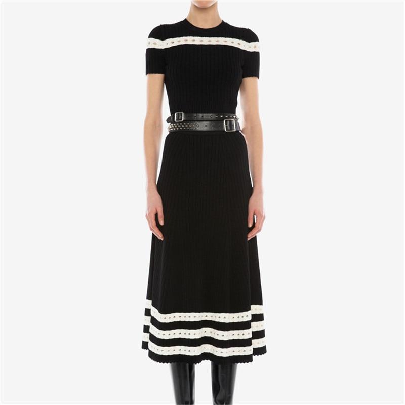 Runway Designer Two Piece Set Women Summer O-neck Short Sleeve Knitted Top+ High Waist Midi Skirt White Black Striped Set