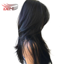 DLME Natural Black Color Yaki Straight Pre Plucked Brazilian Hair Glueless Lace Front Wigs With Babyhair No Tangle Synthetic