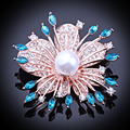 FARLENA Jewelry Gold & Silver plated Exquisite Crystal Flower Scarf Brooches With Imitation Pearl Fashion Rhinestone Brooch