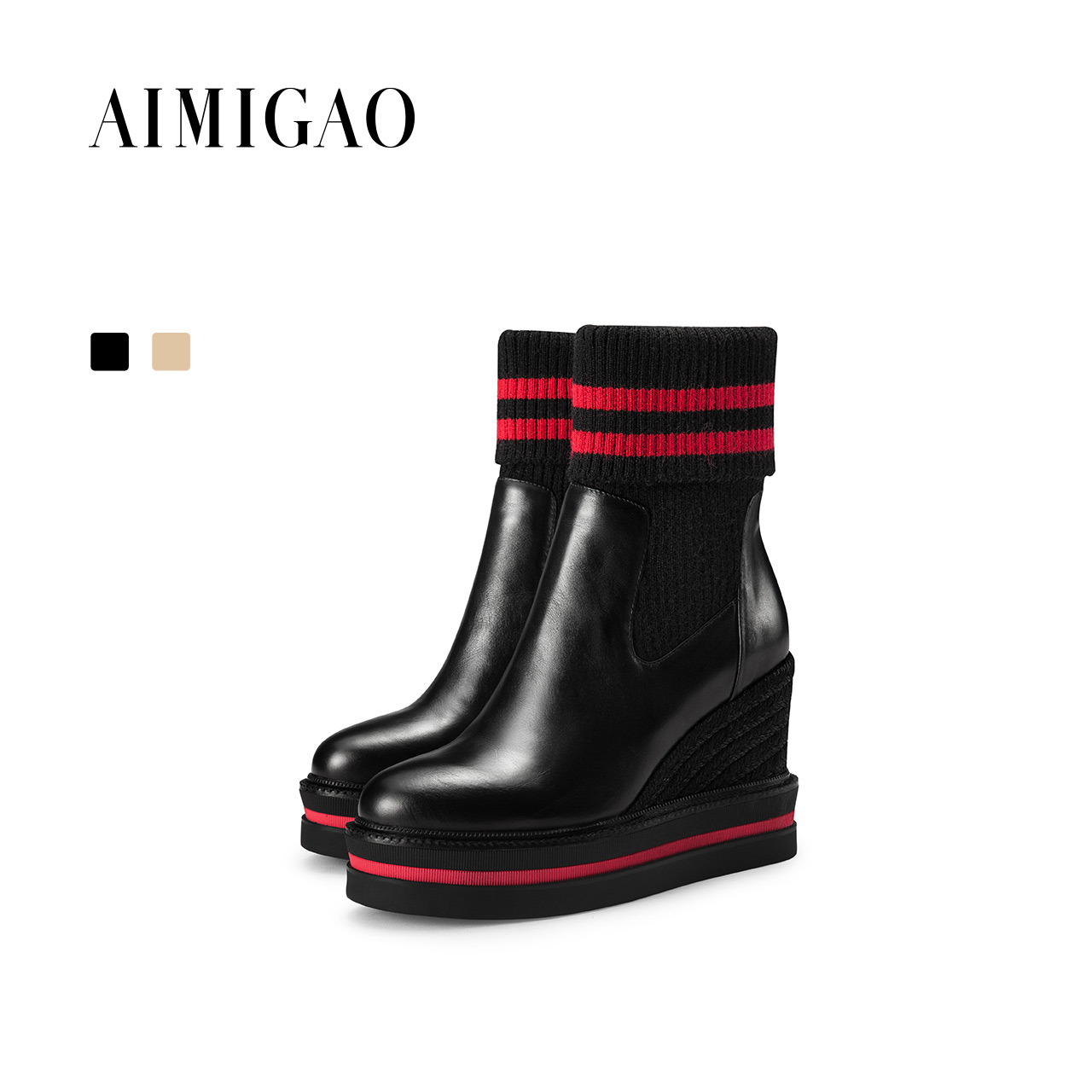 AIMIGAO Women Cowhide leather wedges shoes ankle boots para mulheres Fashion Knitting socks boots shoes casual 2017 winter new 2018 ankle boots for women leather boots luxury designer socks shoes short female knitting weave fashion high heel boots