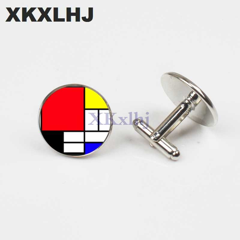 XKXLHJ 2018 New Mondrian Square Cufflinks Silver Photo Cufflinks High Quality Art Handmade Jewelry Accessories