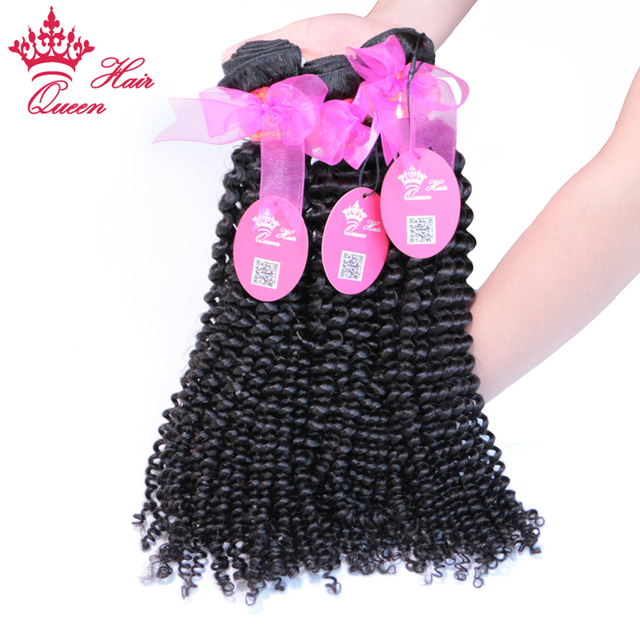 Queen Hair Products Kinky Curly Hair Weave 3 Bundles/Lot 100% Human Hair Extensions Brazilian Remy Hair Bundles Natural Color