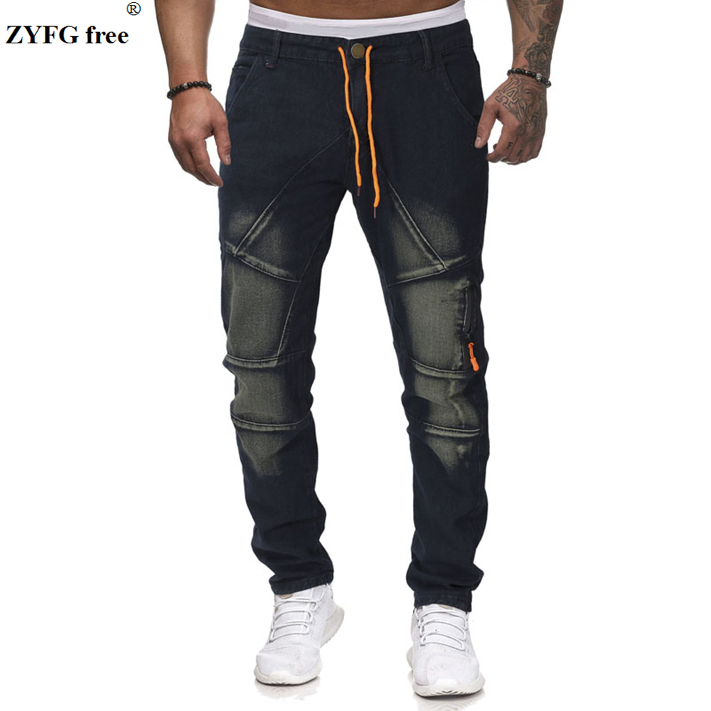 Large Size Men Fashion Casual Jeans Drawstring Pleated Cotton Jeans Youth Full Length Jeans Trousers Men