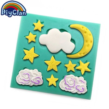 Ramadan Moon And Stars Silicone Molds For Cake Decorating Fondant Cake Form Chocolate Soap Mould Flaky Clouds Cake Tools F0845YL