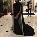 Elegante longo vestidos de baile 2017 sexy alta neck cap sleeve trumpet cetim stretch menina sereia preto africano prom dress