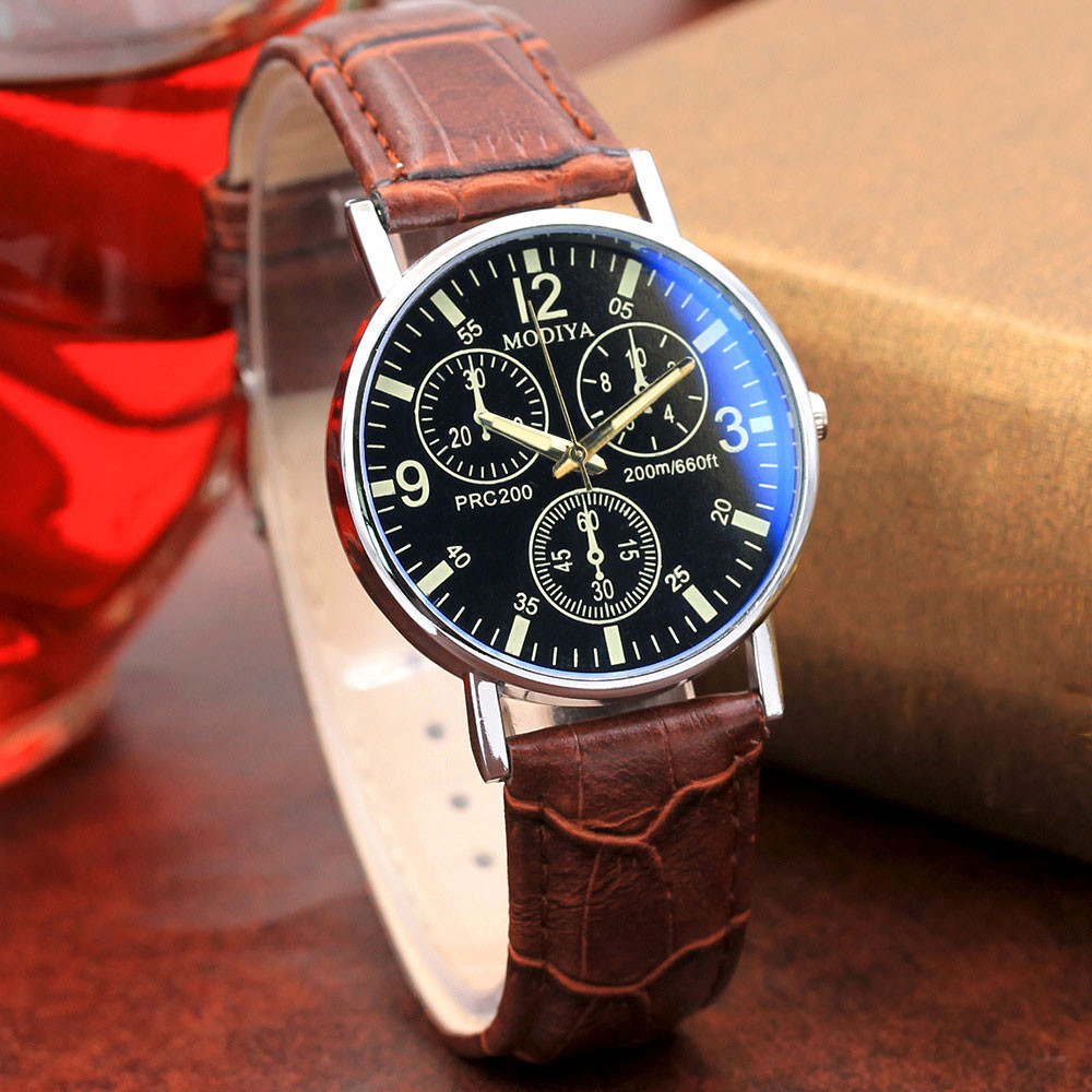 Luxury Brand Men Watches 2018 Fashion Faux Leather Men Blue Ray Glass Quartz Watch Casual Males Business Watch relogio masculino mike 8831 men s business casual quartz watch silver blue