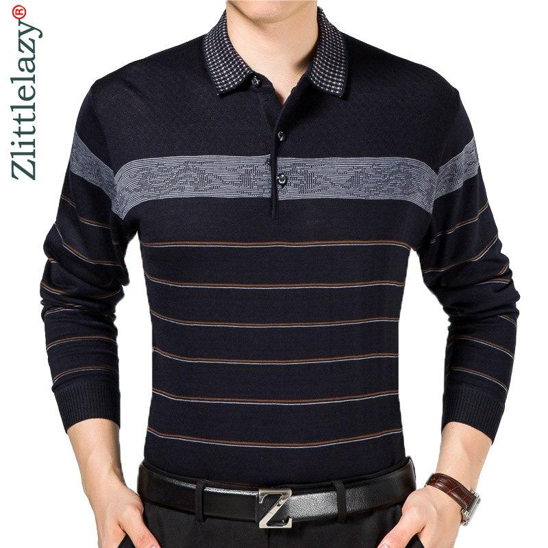2019 Casual Long Sleeve Business Mens Shirts Male Striped Fashion Brand Polo Shirt Designer Men Tenis Polos Camisa Social 5158