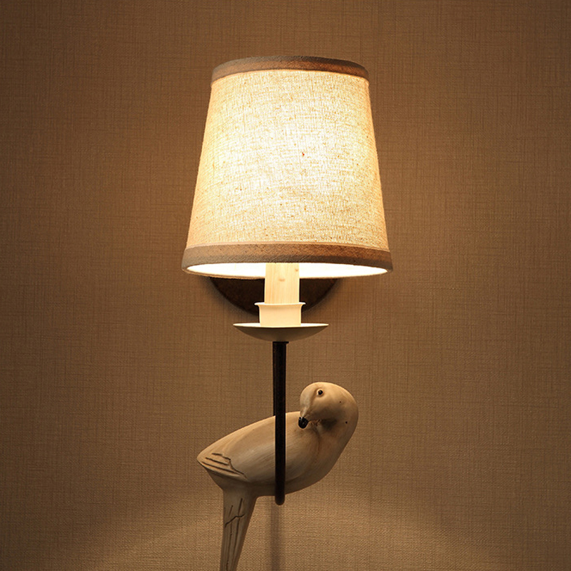 American Country Bedside Wall Lamp Single Bird Study Wall