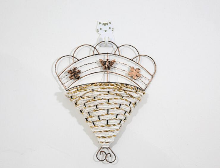 2 шт. металл, ротанг гребешок вентилятор корзина ваза Вазы хранения Настенный для Свадебная вечеринка дома сад украшения офиса