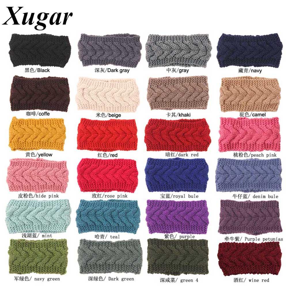 Winter Crochet Braid Headband For Women Handmade Knit Knitted Headwrap Girls Fashion Ear Warmer Hair Accessories