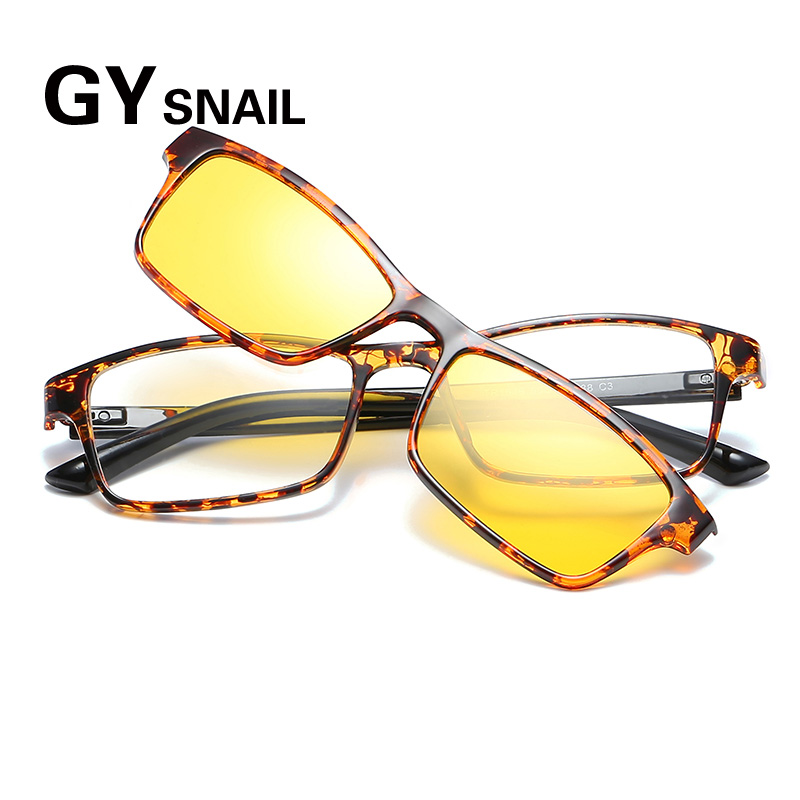 GY fashion square sunglasses men polarized vintage sun glasses for women mirror oculos female eyewear male myopia magnetic frame