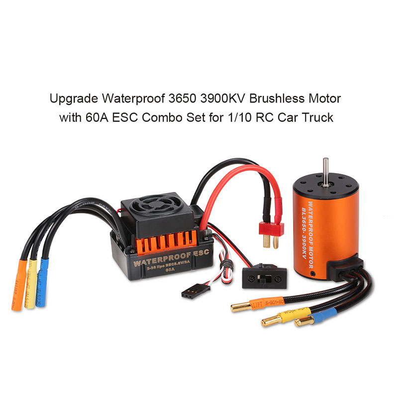 Newest Upgrade Waterproof 3900KV 4300KV Brushless Motor 60A ESC Sensorless Motor Set for 1/10 RC Car Truck surpass hobby upgrade waterproof 3650 3900kv rc brushless motor with 60a esc combo set for 1 10 rc car truck motor kit
