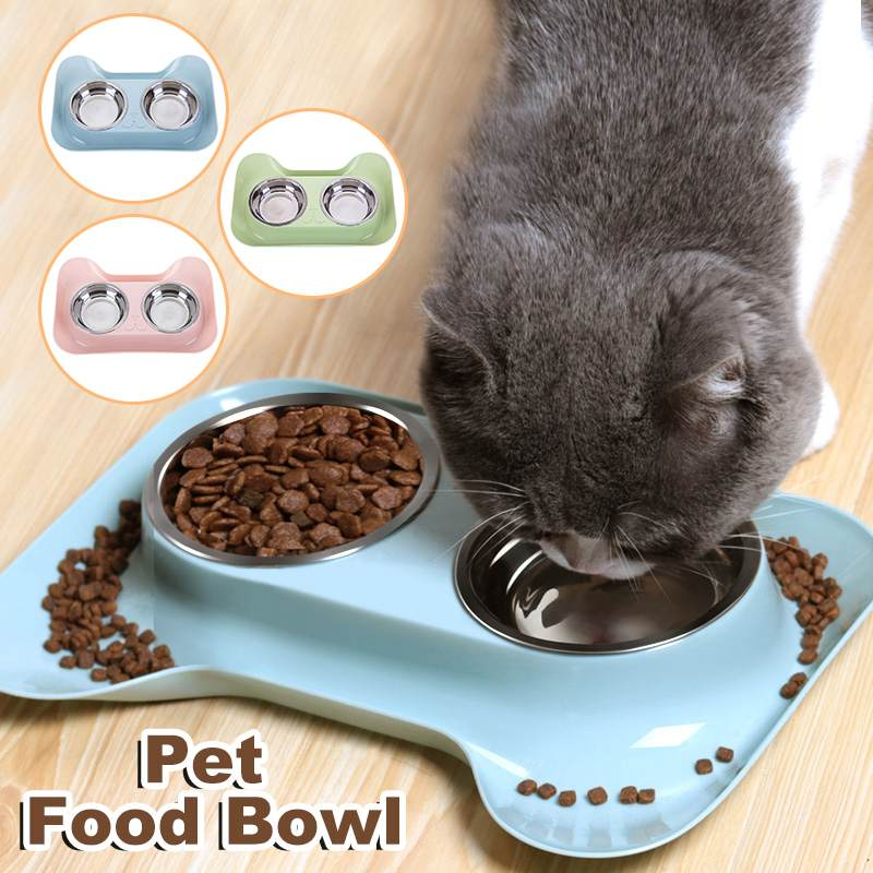 Stainless Steel Dog Bowl With No Spill Non-Skid Feeder Bowls Pet Bowl Food Water Drink Pot For Dogs Cats 3 Color