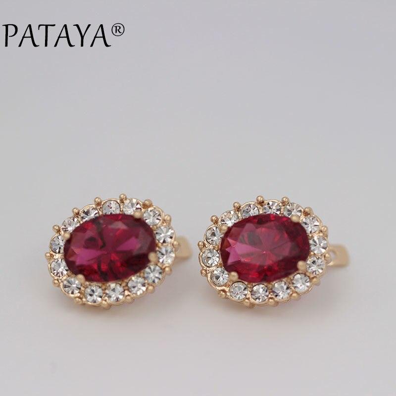 eac80379923d Pataya Rose Big Red Pendientes 585 oro rosa natural cubic zirconia mujeres  de lujo joyería de la boda Accesorios oval cuelgan Pendientes - a.mytecno.me