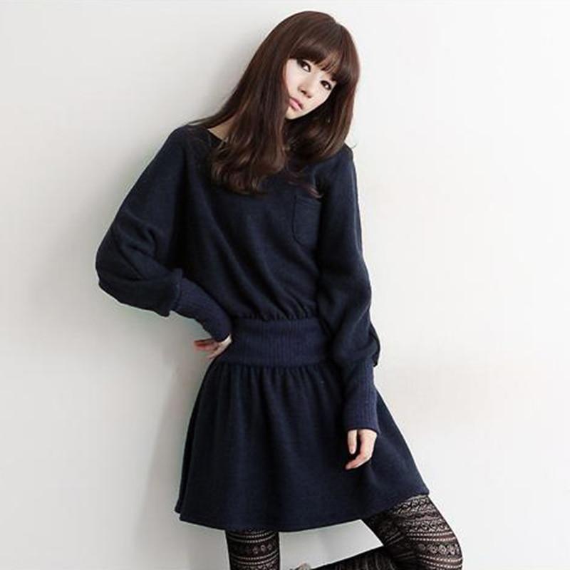 2014 Special Offer Hot Sale Cute Knee-length Full Solid Vestidos Harajuku Women's Slim Waist Yarn Knitted Bat Long-sleeve Dress