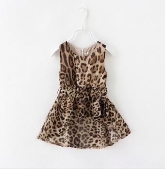 50c0d1b249c3967 Платье без рукавов с леопардовым принтом для девочек детское длинное  шифоновое платье-майка с короткими рукавами спереди