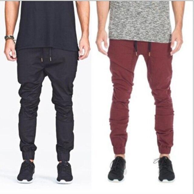 2017 Designer Mens Harem Joggers Sweatpants Elastic Cuff Drop Crotch Drawstring Biker Joggers Pants For Men Black Red Green
