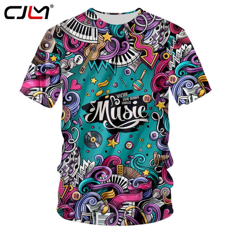 Cjlm Новая мода Для мужчин t Рубашки для мальчиков 2018 летние Топы  корректирующие Творческий музыка плакат ea233ae9841fb