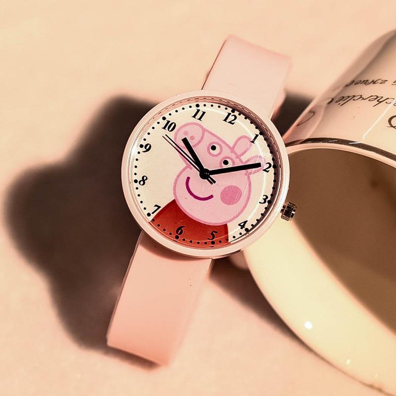 Gullig tecknad rosa gris barn kvarts klockor silikonblå gris barn - Damklockor