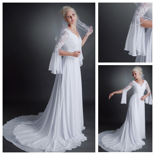 Poet Sleeves Lace Zipper Up High Covered V Neck Formal Court House Chiffon Long Wedding Dress With In Dresses From Weddings Events On