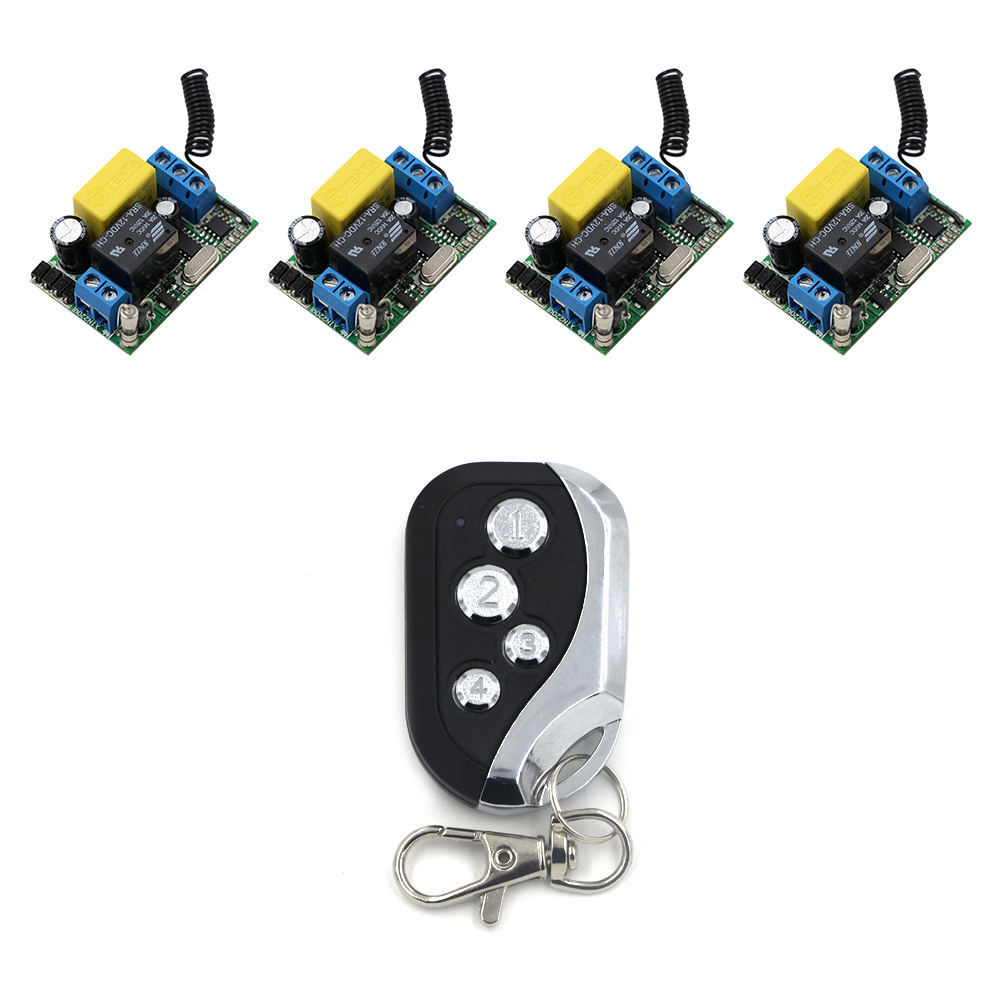Latest AC 220V 1CH Remote Control Garage Door RF Wireless Remote Control Switch System 1X Transmitter + 4 X Receivers 315/433MHz