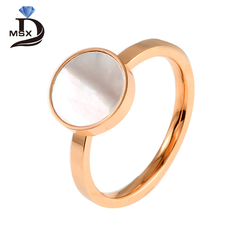 Gold Plating Resin Ring for Women Man Stainless Steel Rose Gold Color Finger Ring Trendy Engagement Wedding Party Jewelry Gift
