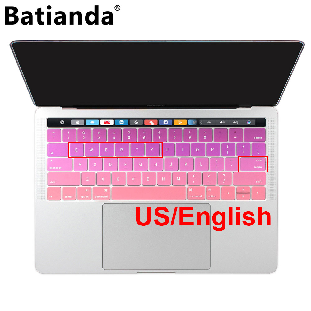 US layout English Pink Silicone Keyboard Cover Skin for 2019 2018 2017 2016 MacBook Pro Retina 13 15 Touch ID and Touch Bar image