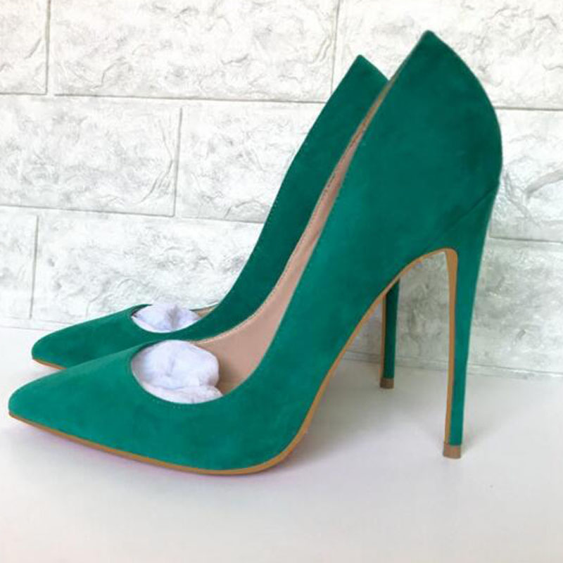 Mikishyda 2018 Spring New Arrival Green Suede Pointed High Heels Stiletto Single Shoe Female Pumps Shallow Mouth Womens 10cm