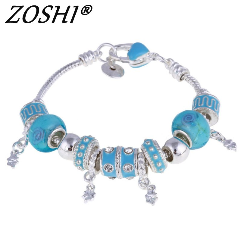 Fashion Women Bracelet Silver Plated Crystal Bead Charm Bracelet For Women Christmas Jewelry Original Bracelets Gift